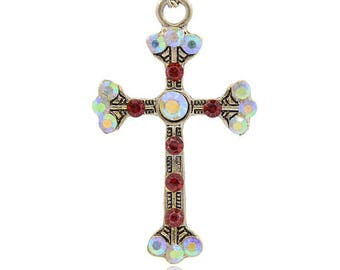 Cross Latin pendant silver Antique Crystal AB Siam 49 x 33 x 5 mm