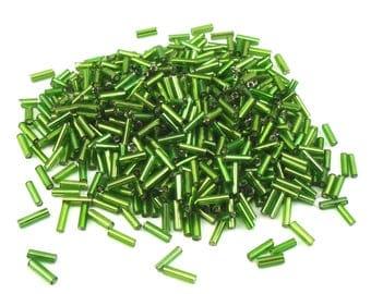 glass tube beads 10 grams of +/-6 mm Green
