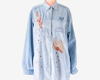 "Custom vintage ""Hosanna"" - entirely hand embroidered denim shirt"