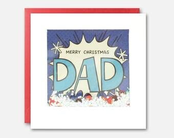 Merry Christmas Dad Kapow Shakies Card by James Ellis