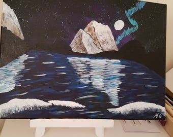 Cold night, Acrylic painted on canvas, originale handmade art-work. One of a kind art.