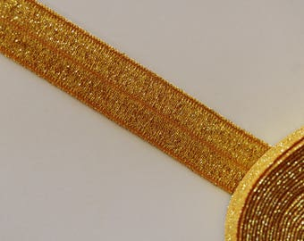 Gold glittery orange elastic Ribbon