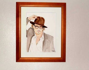 Johnny Depp Portrait in watercolor.
