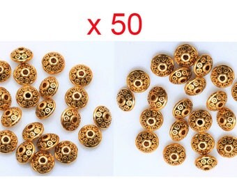 50 beads spacer saucer Antique gold necklace pendant 6.5 mm