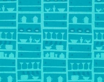 Happy days lady kitchenware blue patchwork fabric