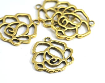5 charms / medallions small Rose - 23 x 21 mm - antique gold color