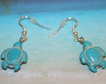Earrings turquoise Howlite turtle beads