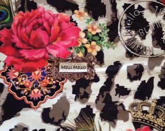 Cotton sateen luxurious hodgepodge width 140cm