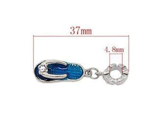 Charm tong No. 78 silver 37mm blue enamel pendant.