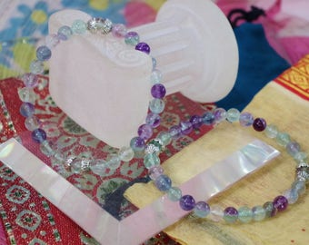 Gemstone bracelet natural fluorite with charm