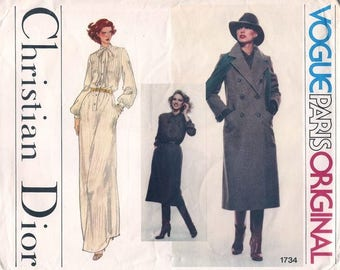 Vintage 1970s Vogue Paris Original Sewing Pattern - Christian Dior - Overcoat Trench and Shirt Dress Maxi