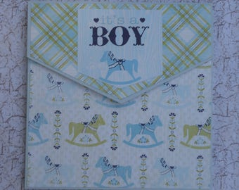 Envelope style 6x6 inch mini scrapbook album for baby boy