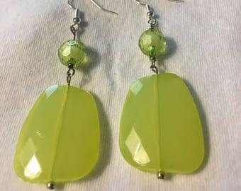 Green, silver, mulit shape, earrings