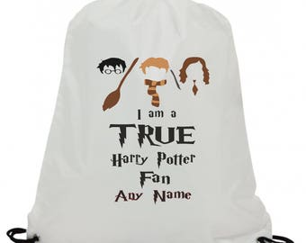 Personalised i am a true harry potter fan sublimation swimming pe gym school drawstring bag