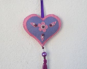 embroidered felt pink and purple heart