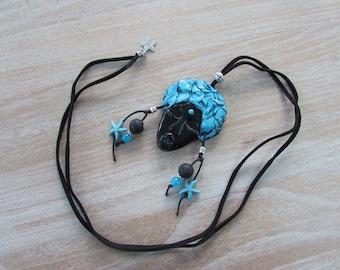 "Long Black Suede, large ""Ebony"" pendant necklace"