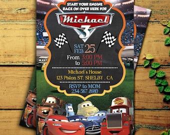 Cars Birthday Invitation, Disney Cars Birthday Party, Cars Lightning McQueen Digital, Cars Chalkboard Invitation, Lightning McQueen Invite