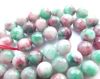 46 green tinted agate smooth round beads Pink 8 mm STAR-227