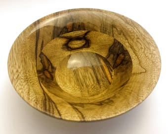 "Hand Turned Black Limba Bowl 6.5""x2.5"""