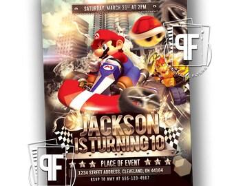 Go Kart Birthday Invitation - Mario Kart Birthday Invitation - Mario Kart Birthday - Mario Kart Party Invite - Mario Birthday Invitation