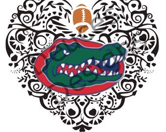 Florida Gator Ornate Heart