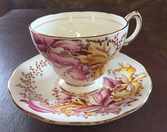 Queen Anne Teacup and Saucer Orchids, English Bone China Tea Cup
