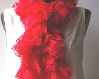 Crocheted red lace ruffle scarf, it is about 110 cm.