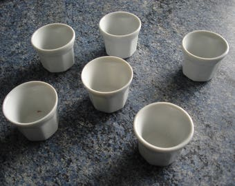 set of 6 egg cups white ceramic vintage