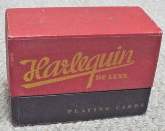 Harlequin - Vintage Boxed Double Pack of De Luxe Playing Cards - Special Jokers