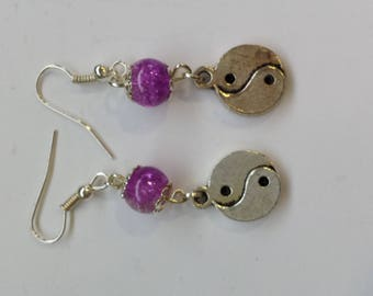 PURPLE GLASS BEAD EARRINGS