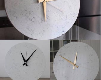 Marble Wall Clock,Natural Stone and White,Housewares, Home and Living, Unique Wall Clock