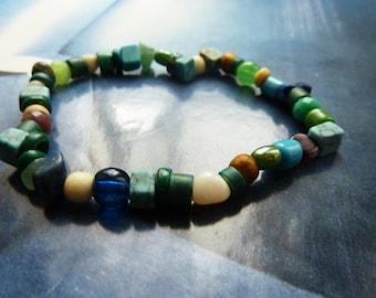 Rustic boho Beads Bracelet blue all subjects of gemstone, glass, wood, bone and shell stones