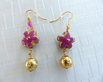 Pair of gold rose flower earrings