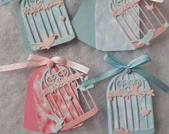 4 tags in pastel colors shabby shaped cage