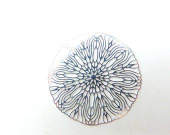 2 print round flower silver 40mm