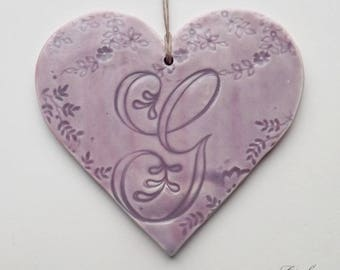 Large custom earthenware and impressions lace to hang, letter 'G', purple