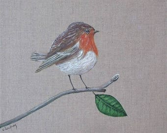 Painting on linen Robin 30 x 30 cm