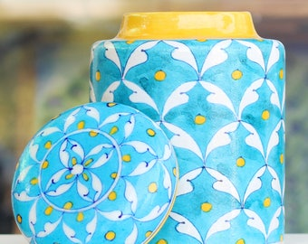 Blue Pottery Barni (Decorative Jar) in Turquoise Colour