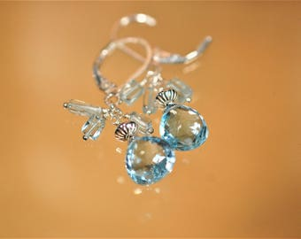 For Royalty: Dazzling Blue Topaz Faceted Gemstone Drops with Polished Aquamarine