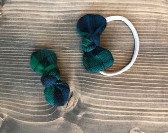 Green Tartan Kids Bow and Headband Set