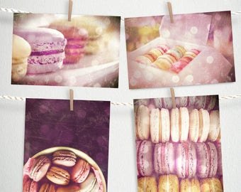 Paris Photography, Macarons, Set of 4 Postcards Instant Download print, romantic, girls nursery decor, Wall Art, purple pink pastels, french