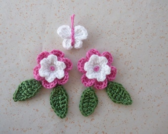 Set of 2 bicolor flowers pink/bright white with 4 sheets and 1 Butterfly - 7 crochet pieces