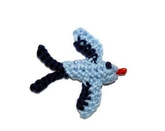 Blue Bird in 3D crochet