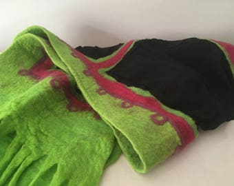 Long black scarf with green & pink combo felt details