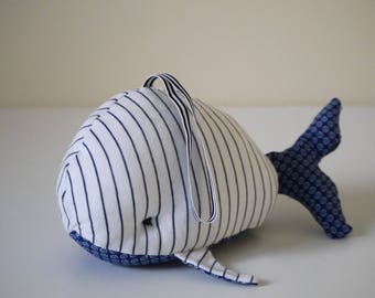 Plush rattle whale Navy and white striped jersey, blue and white print