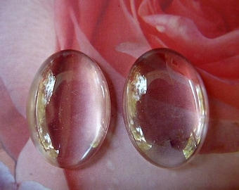 cabochons glass oval beads clear magnifying glass set of 2