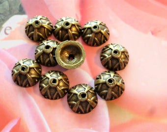 beads caps metal bronze 9 mm set of 10 for jewelry and craft creations