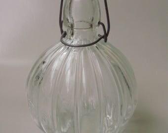 Large,Antique, RIBBED BOTTLE ,buckled glass,home decor