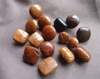 Brown braided leather 16 buttons * 15-23 mm * 1960s