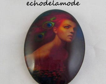 1 cabochon glass woman with the 30 mm X 40 mm ref5 peacock feathers
